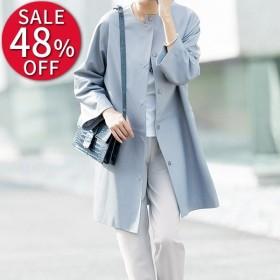 セール ファッション ラムナッパ ノーカラーコート レディース コート PC2146