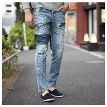 (Men's Bigi/メンズビギ)【BOBSONボブソン×RATTLE TRAP】別注distressed jeans (スリムストレート型) <all japan made><別注セレクト>/メンズ ライトブルー 送料無料