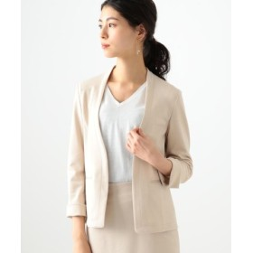 (BEAMS OUTLET/ビームス アウトレット)【洗える】Demi-Luxe BEAMS/ポンチ ノーカラー Vネックジャケット/レディース BEIGE 送料無料