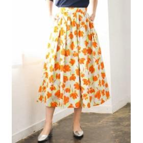 (MK MICHEL KLEIN/エムケーミッシェルクラン)【洗える】カットジャガードプリントスカート/レディース オレンジ