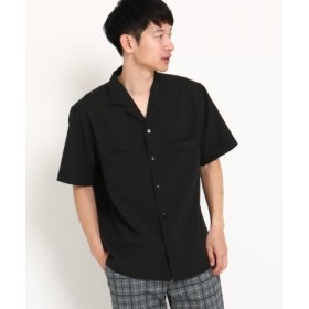 (THE SHOP TK/ザ ショップ ティーケー)オープンカラーシャツ/メンズ ブラック(019)