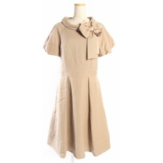 【中古】トゥービーシック TO BE CHIC 18SS ダブル クロス タック ドレス ワンピース 半袖 リボン ひざ丈 40 ベージュ /ek0423