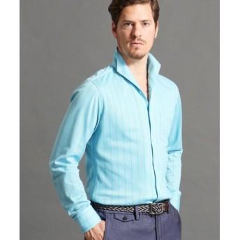 (MONSIEUR NICOLE/ムッシュニコル)ストライプ柄イタリアンカラーシャツ/メンズ 40グリーン 送料無料