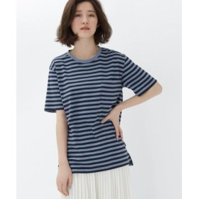 (BASE STATION/ベースステーション)細ボーダー半袖Tシャツ/レディース ネイビー(393)