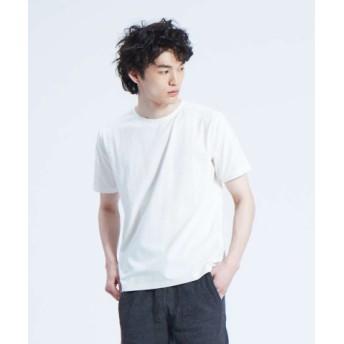 (ABAHOUSE/アバハウス)【ノンストレス】COTTON LYCRA圧着クルーネック半袖Tシャツ/メンズ ホワイト 送料無料