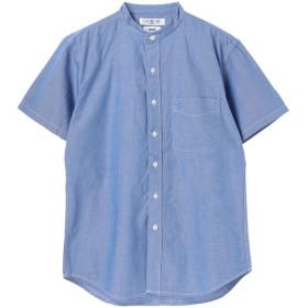 【5,000円以上お買物で送料無料】mens オーガニックオックス半袖バンドカラーシャツ