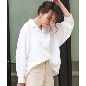 (SocialGIRL/ソーシャルガール)オープンカラービックシルエットオーバーサイズレトロシャツ/レディース オフホワイト