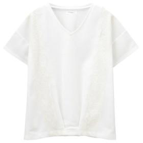 (MAC HOUSE/マックハウス)Navy サイドレースTシャツ NVCS9009/レディース ホワイト