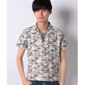 (STYLEBLOCK/スタイルブロック)コットンカノコ迷彩カモフラプリントPUレザー使い半袖ポロシャツ/メンズ ホワイト