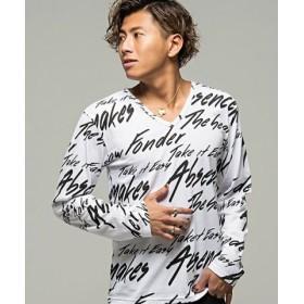 (SILVER BULLET/シルバーバレット)CavariA【キャバリア】メッセージ総柄プリントVネック長袖Tシャツ/メンズ ホワイト