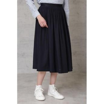 (HUMAN WOMAN/ヒューマンウーマン)タック刺繍スカート/レディース ネイビー 送料無料