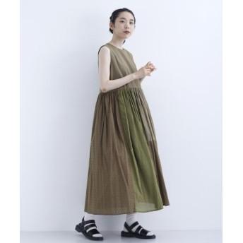 (merlot/メルロー)【merlot】配色パッチワークデザインノースリーブワンピース7691-0719/レディース カーキ
