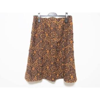 【中古】 スキャパ Scapa スカート サイズ40 XL レディース 黒 ブラウン ダークブラウン フラワー