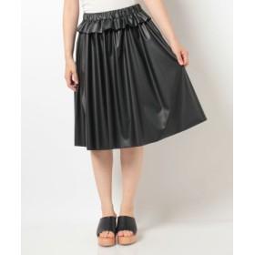 (alcali/アルカリ)フェイクレザーウエストフリル付ギャザースカート/レディース ブラック