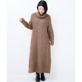 (haco!/ハコ)haco! パッと着て女っぽくなれる気がする ふんわり素材のケーブルニットワンピース/レディース ライトブラウン