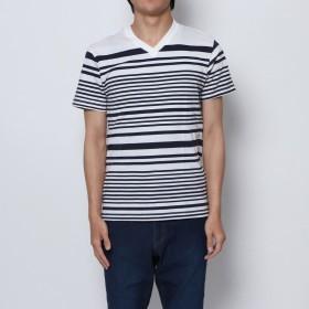 スタイルブロック STYLEBLOCK ランダムボーダープリントVネックTシャツ (ホワイト×ネイビー)