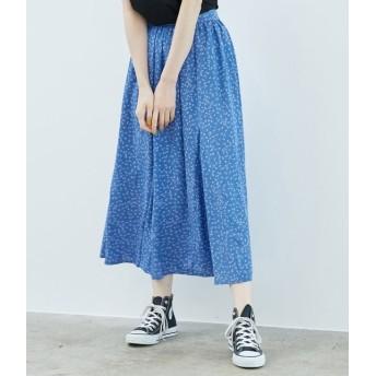 ロペピクニック/幾何柄サーキュラースカート/ブルー/38