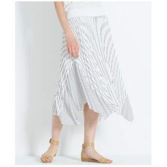 23区 【洗える】ストライプ ジョーゼット プリーツスカート その他 スカート,ブラック系1