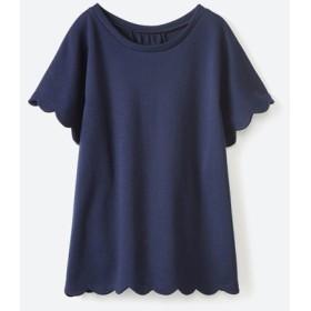 (haco!/ハコ)いつものTシャツよりかわいげご用意スカラップカットソートップス/レディース ネイビー