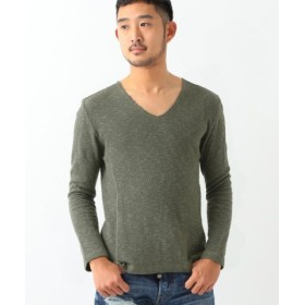 (BEAMS OUTLET/ビームス アウトレット)International Gallery BEAMS/タチキリスラブ Vネック カットソー/メンズ OLIVE/OD