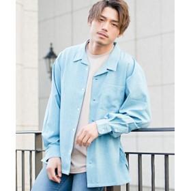 (SILVER BULLET/シルバーバレット)CavariA【キャバリア】日本製ビッグシルエットオープンカラー長袖シャツ/メンズ ブルー 送料無料