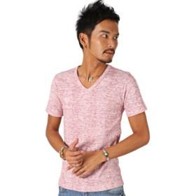 (LUXSTYLE/ラグスタイル)ランダムテレコVネックTシャツ/Tシャツ メンズ 半袖 テレコ リブ Vネック/メンズ レッド