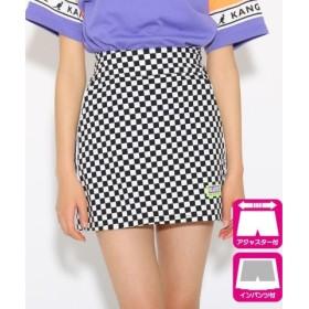 (PINK latte (Teen)/ピンク ラテ(ティーン))サイドラインスリット台形 スカート/レディース ブラックチェック(119)