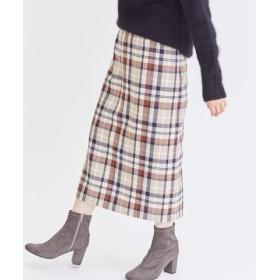 (FREDY & GLOSTER/フレディアンドグロスター)WOOLチェック ロングタイトスカート/レディース ブラウンベージュ系2
