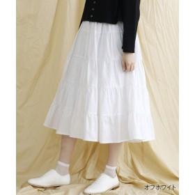 (merlot/メルロー)【IKYU】コットンティアードロングスカート/レディース オフホワイト