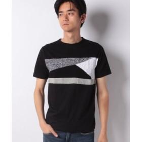 (ikka/イッカ)ニット切り替えクルーネックTシャツ/メンズ ブラック