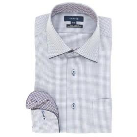 (TAKA-Q/タカキュー)形態安定レギュラーフィットワイドカラーパイピングニット長袖ビジネスドレスシャツ/メンズ ブルー