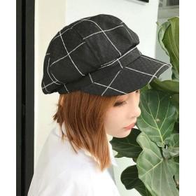(miniministore/ミニミニストア)キャスケット帽子 レディース 格子チェック柄 CAP 小物 ファッション雑貨 帽子 秋冬/レディース ブラック