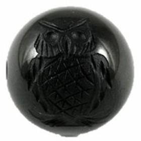 オニキス12mm 素彫り ふくろう 【彫刻 一粒売りビーズ】 バラ売り 手作りにオススメ! 天然石 パワーストーン