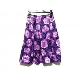 【中古】 ケイトスペード スカート サイズ4 S レディース ダークブラウン ピンク パープル 花柄