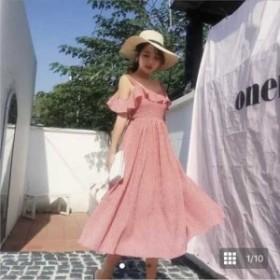 オフショル バックリボン ワンピース リゾート サマードレス かわいい ピンク FA-962