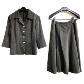 【中古】 レリアン Leilian スカートスーツ サイズ9 M レディース 黒 アイボリー 肩パッド