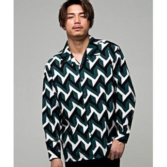 (SILVER BULLET/シルバーバレット)CavariA【キャバリア】幾何学柄長袖開襟シャツ/メンズ グリーン