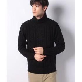 (MARUKAWA/マルカワ)セーター ケーブル 編み タートルネック/メンズ ブラック