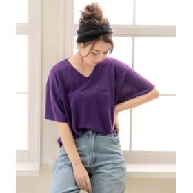 (YUMETENBOU/夢展望)胸ポケットTシャツ/レディース パープル系1