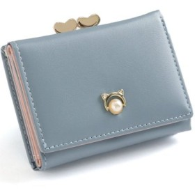 (REAL STYLE/リアルスタイル)ハートデザインがま口三つ折り財布/レディース ブルー