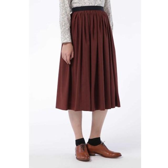 (HUMAN WOMAN/ヒューマンウーマン)タック刺繍スカート/レディース カーディナルブラウン