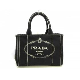【中古】 プラダ PRADA トートバッグ 美品 CANAPA 1BG439 黒 内側ギンガムチェック キャンバス