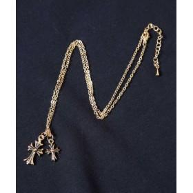 (JIGGYS SHOP/ジギーズショップ)ダブルクロスネックレス/ネックレス メンズ シンプル チェーン 十字架 クロス ゴールド シルバー/メンズ ゴールド