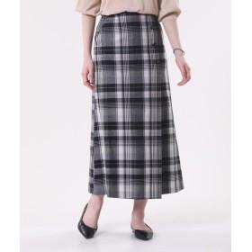 【PLST】リヨセルリネンチェックマキシラップスカート