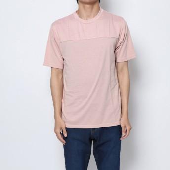 セブンデイズ サンデイ SEVENDAYS=SUNDAY outlet ジャカードニット切替 半袖プルオーバー (ピンク)