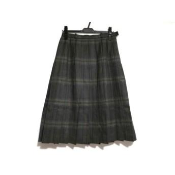 【中古】 レリアン Leilian スカート サイズ11 M レディース ダークグレー マルチ チェック柄