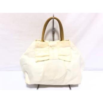 【中古】 プラダ PRADA ハンドバッグ - BN1601 アイボリー ゴールド リボン ナイロン レザー