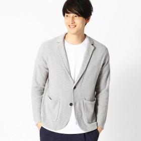 コムサイズム COMME CA ISM 綿麻 鹿の子編み ニットジャケット (ライトグレー)