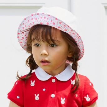 ミキハウス リボン風の日よけカバー付きハット(帽子) 白×ピンク