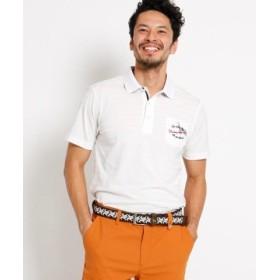 (adabat/アダバット)【吸水速乾】胸ポケット付き 半袖ボーダーポロシャツ メンズ/メンズ ホワイト(001)